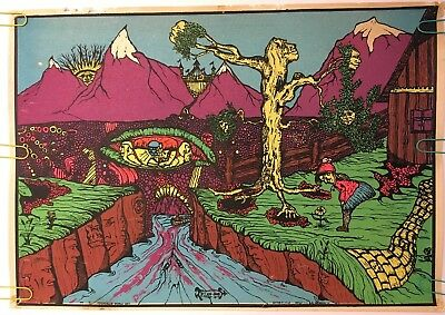Original Vintage Blacklight Poster If I Was Alone 1970 Psychedelic Pin-up 70s