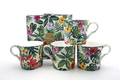 Fine Bone China Set Of 4 Gift Boxed Mugs Tropical Leaves Design