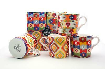 Fine Bone China Set Of 4 Gift Boxed Mugs Aztec Design