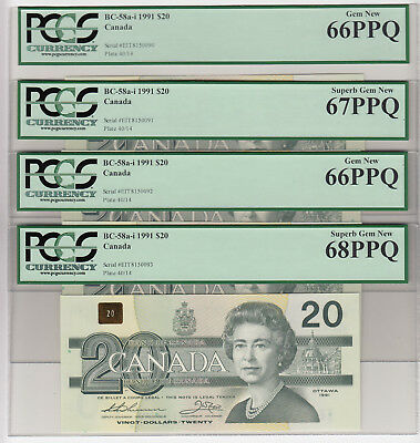4 Consecutive 1991 Bank of Canada $20 Banknote - PCGS Superb Gem NEW 66-68 PPQ