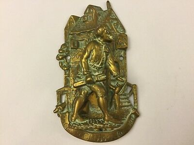 Edwardian antique solid brass door knocker circa 1909