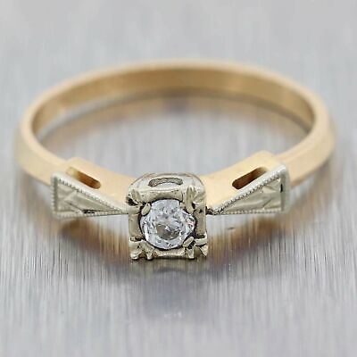 0.10ct Diamond 14k Yellow Gold Antique Art Deco Solitaire Engagement Ring A9