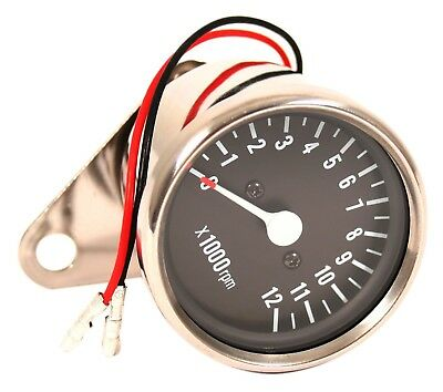 Custom Mini Tachometer 5:1 Ratio Mechanical Drive Chrome Body Black Face