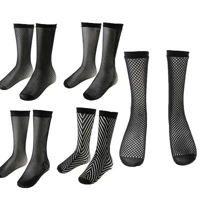 1 Pair Retro Black Nylon Fishnet Knee High Socks Mesh Women Girls Stockings