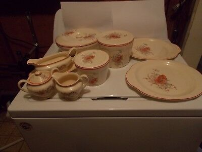 Universal Cambridge China Poppy pattern 8 pc set dinner ware porcelain 1934/1954