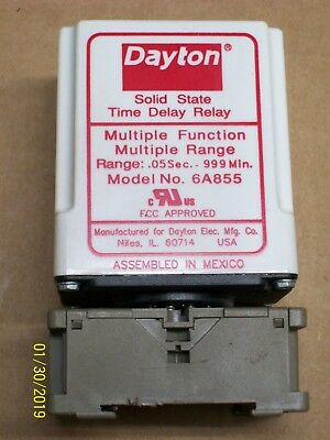 DAYTON TIME DELAY RELAY .05 SEC. - 999 MIN. 6A855 with SOCKET BASE
