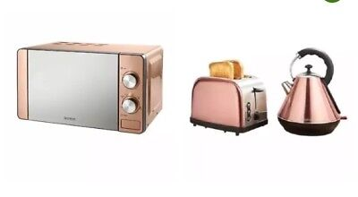 Rose Gold Copper Effect Microwave Pyramid Kettle & Toaster Set Kitchen New