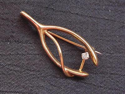Vintage 14K Yellow Solid Gold & Diamond Wishbone Lucky Pin Brooch 2.4 grams