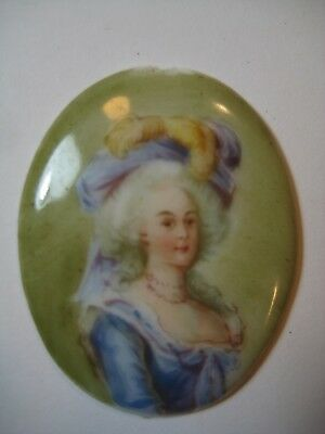 Antique Victorian Handpainted Porcelain Cameo - New Orleans French Bordello Bed!