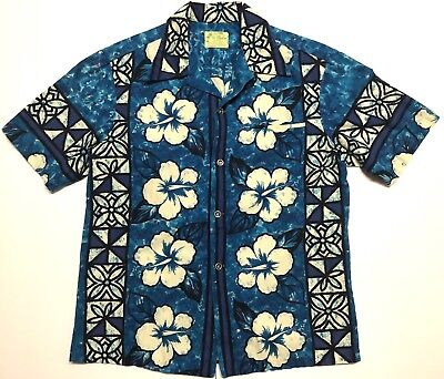 124554b20 Vintage Ui Maikai Hawaiian Shirt 70s Mens Medium M 100% Cotton USA Made