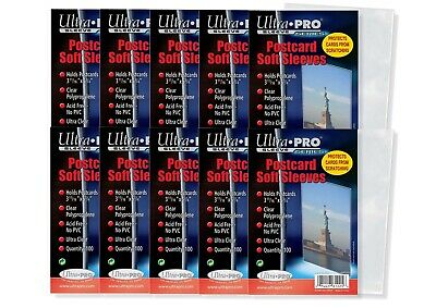 "Ultra Pro 3 11/16"" x 5 3/4"" Soft Sleeves for Vintage Postcards 1000 Count"