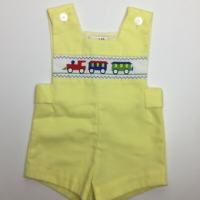 VTG BABY TOGS Yellow Romper Train Overall Shortall Sz 12 mo |PipRose