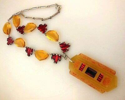 Vintage Art Deco Czech French Red Amber Glass Crystal Step Pendant Necklace