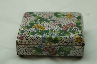 Antique Chinese Cloisonne Box Copper Enamel Old Original Footed Dresser Jewelry