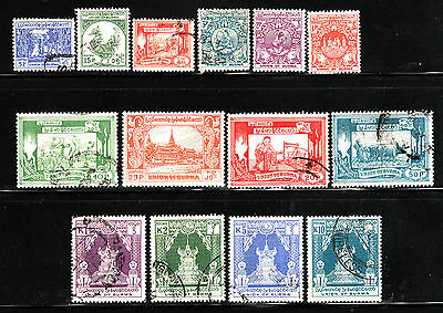 Burma Stamp. 1954. Sc#139-152. Used. Types Of 1949. Complete Set Of 14