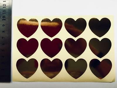 36 GOLD HEART STICKERS / SEALS  labels gift treat bags wedding 3cm wide