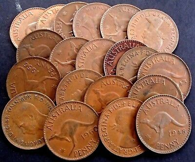 Bulk 3 x KGV One Penny & 11 x Kangaroo One Penny Coins - All Different Dates