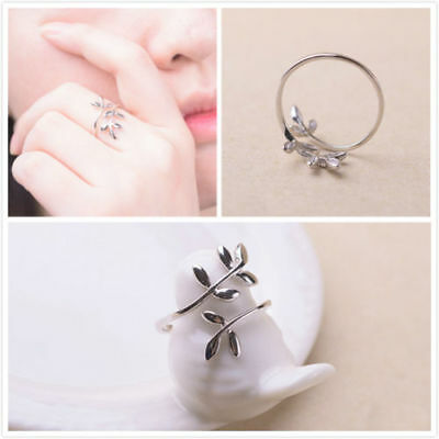 Fashion Women 925 Silver Plated Jewelry Leaf Open Finger Ring Adjustable Size