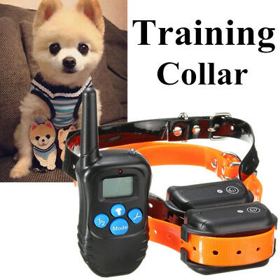 300M 100LV Waterproof Rechargeable Electric Shock Remote 2 Dog Training Collar