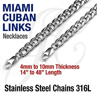 """Stainless Steel 316L Miami Cuban Curb Link Chain Necklace 14-48"""" Silver tone"""