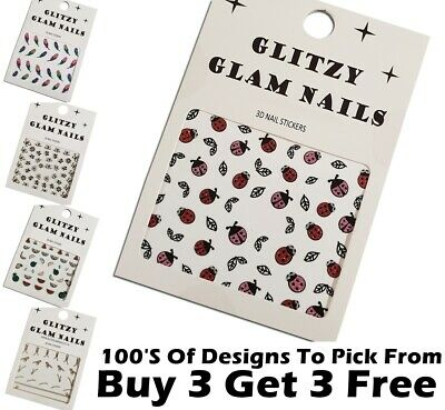 3D Nail Art Stickers | Decals | Glitter UV Acrylic Sticker Transfers
