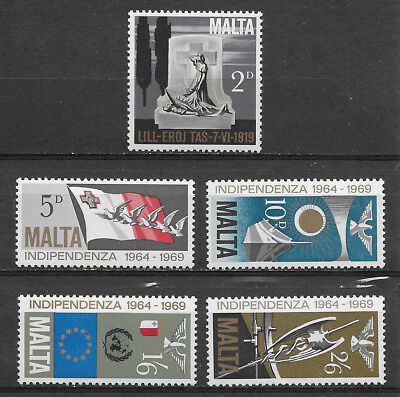 Malta , 1969 , 5Th Anniv. Independence  , Set Of 5 , Perf, Mnh ,