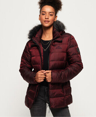 New Womens Superdry Taiko Padded Faux Fur Jacket Dark Topaz