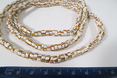 Alte Glasperlen weiß Old striped African Trade beads white AB2 Afrozip