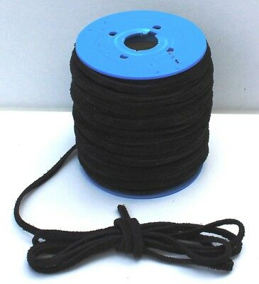 Flat Vintage Suede Cord - Black 4 mm x 1.5 mm, Various lengths 1 m > 10 m