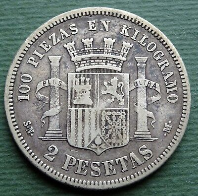 1870 Spain Coin 2 Peseta Provisional Government Silver (.835) KM# 654