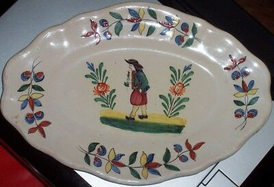 Quimper Grand Plat Ancien 35 X 24 Cm