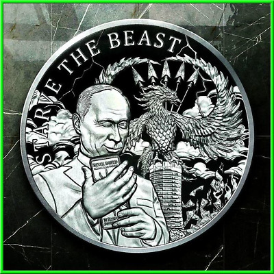 2019 1oz Starve The Beast Proof Silver Shield MiniMintage Death of the Dollar