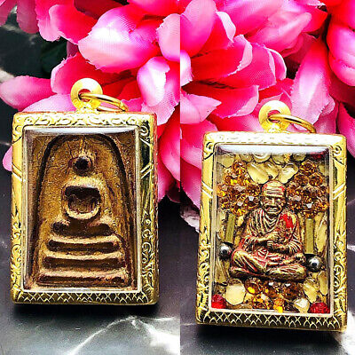 Ancient Vintage Somdej Crystal Leklai Gold Leaf Watphakaew Thai Amulet Orange