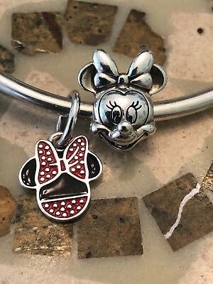 2 x 100% Authentic Pandora Disney Minnie Portrait & Icon Dangle Charms (RETIRED)