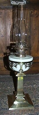 Antique Victorian Arts & Crafts brass OIL LAMP HINKS vaseline glass drop-in font
