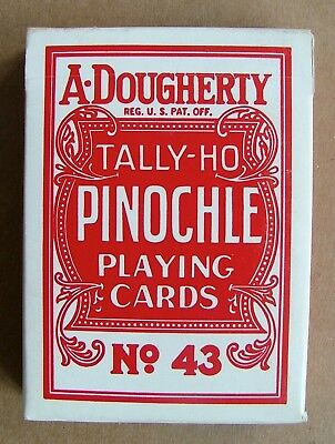 New Sealed Dougherty Tally-Ho Pinochle Red No 43 Ohio USA Playing Cards PC240