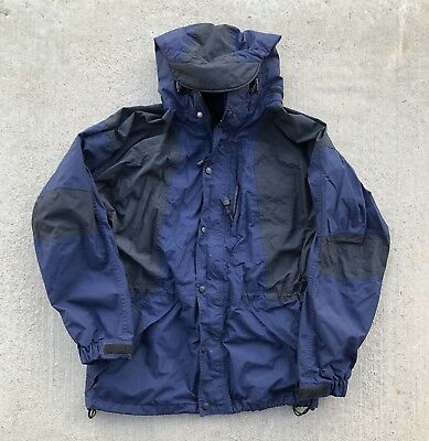 Vintage REI Gore Tex Blue Navy and Black Hooded Parka Jacket Size Men's Small