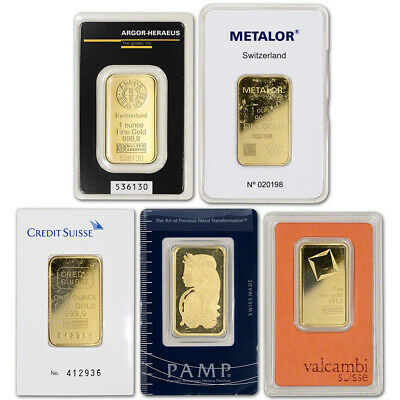 1 oz. Gold Bar - Random Brand - Secondary Market - 999.9 Fine in Assay