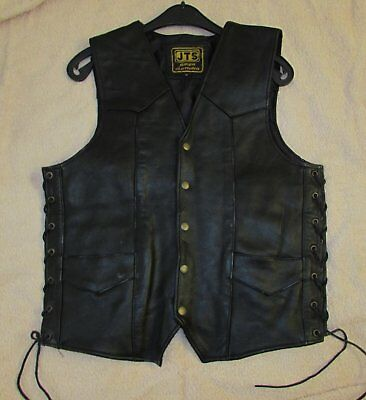 JTS Leather Bikers Waistcoat.Size S. Laced sides.used.