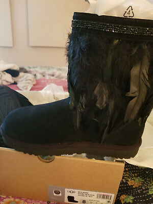 bb4f55feddd NEW UGG CLASSIC Short Peacock Boots with Feathers/Swarovski Crystals US  Size 8