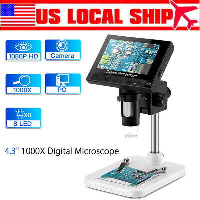 "1000X 5.0MP 4.3"" LCD 720P Microscope Digital Magnifier Tool USB with Holder 8Led"