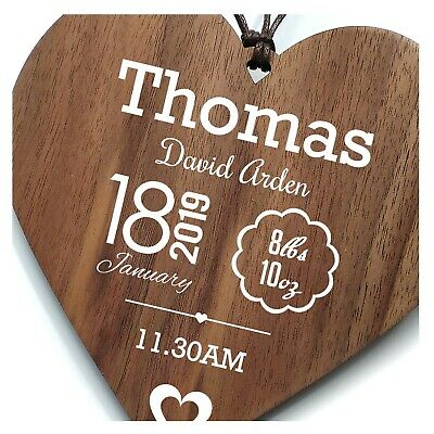 Personalised New Baby Christening Gift Birth Record Love Heart Plaque Sign