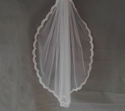 Romantic Short Wedding Veils With Comb Fingertip One-layer Lace Edge Accessories