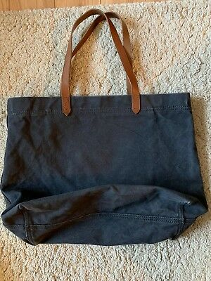 Madewell Canvas Transport Tote Bag Shopper Leather Straps Dark Blue Canvas 3504ce9e290d6