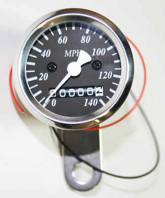 Custom LED Micro Speedometer (MPH) 60MPH=2240RPM Chrome Body Black Face Plate