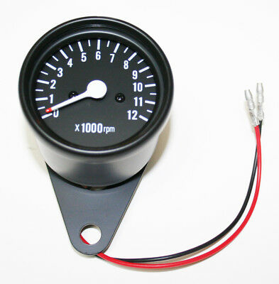 Custom LED Mini Tachometer 7:1 Ratio Mechanical Drive Black Body Black Face