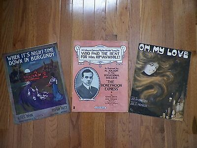 RARE, HARD TO FIND Lot of 3 Large Format Antique Sheet Music from 1914