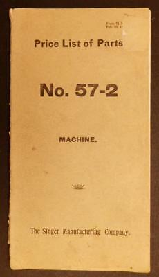 1800's Singer Manufacturing Co Sewing Machine Price List for Parts No 57-2 C331