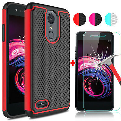 For LG Aristo 3 / Tribute Empire Shockproof Phone Case + Glass Screen Protector