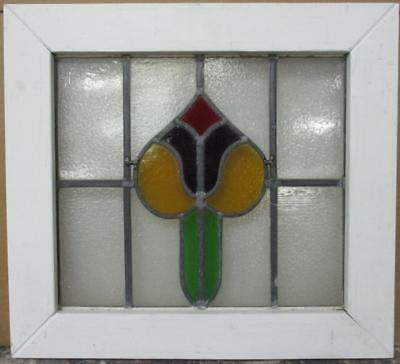 """OLD ENGLISH LEADED STAINED GLASS WINDOW Pretty Colorful Abstract 20.25"""" x 18.5"""""""